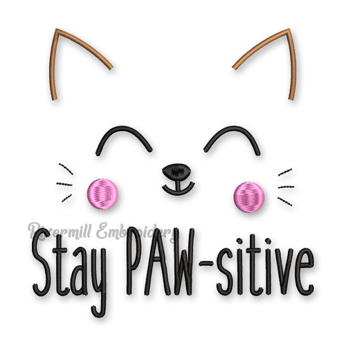 Stay Paw-sitive Cat Face Machine Embroidery Design