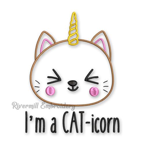 I'm A Caticorn Cat Unicorn Machine Embroidery Design