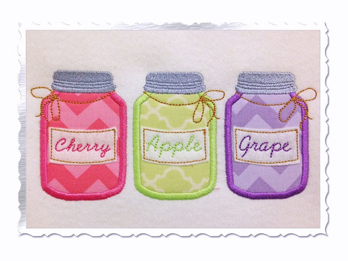Three Applique Fruit Preserve Jars Machine Embroidery Design