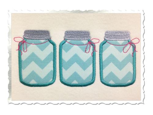 Three Mason Jars Machine Embroidery Design