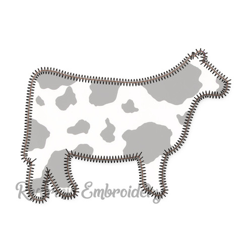 Zig Zag Applique Cow Machine Embroidery Design