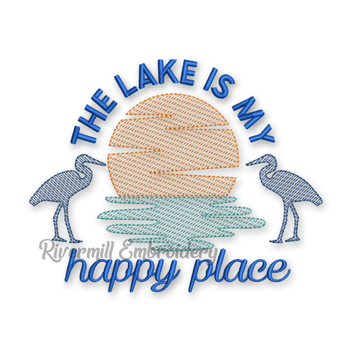 The Lake Is My Happy Place Sketch Style Machine Embroidery Design