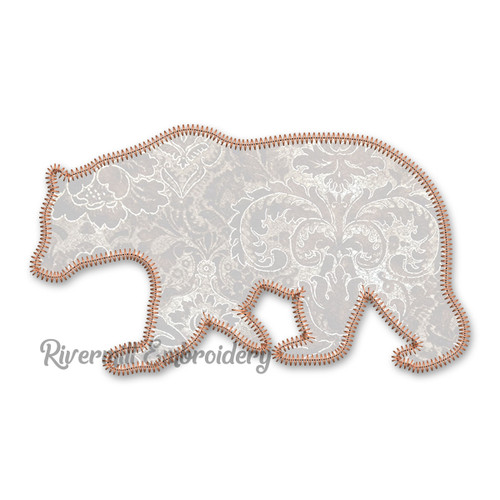 Large Zig Zag Applique Walking Bear Silhouette Machine Embroidery Design