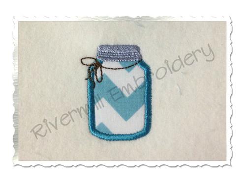 Small Applique Mason Fruit Jar Machine Embroidery Design