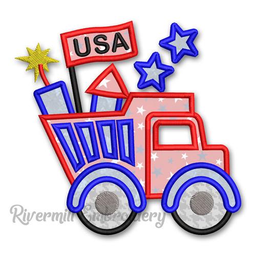 Applique Patriotic Dump Truck Machine Embroidery Design