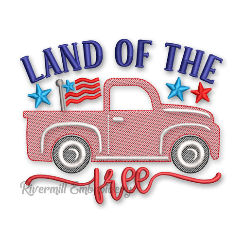 Land Of The Free Sketch Style Truck Machine Embroidery Design