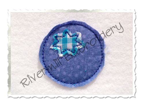 Small Raggy Applique Blueberry Machine Embroidery Design