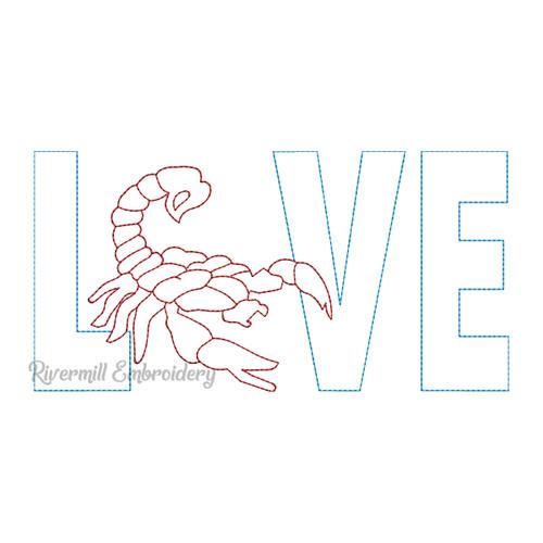 Raggy Applique Scorpion Love Machine Embroidery Design