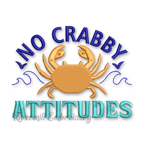 No Crabby Attitudes Machine Embroidery Design