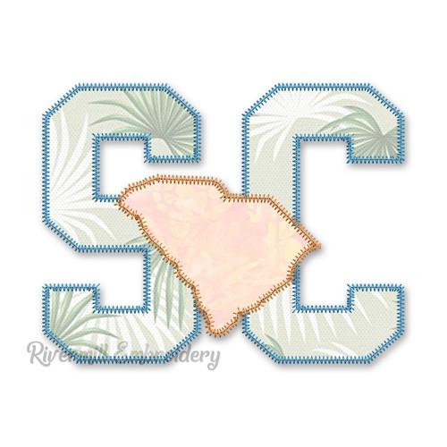 Zig Zag Applique South Carolina SC Letters & State Machine Embroidery Design