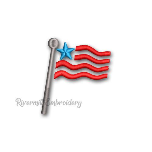 Mini American Flag Machine Embroidery Design