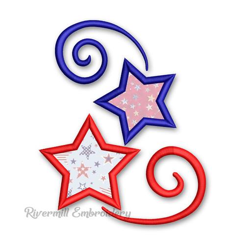 Applique Stars & Swirls Machine Embroidery Design