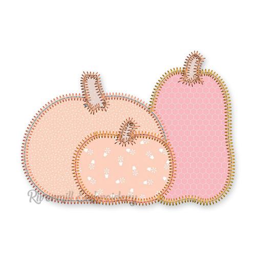 Zig Zag Applique Pumpkin Trio Machine Embroidery Design