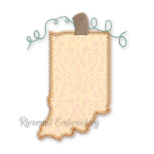 Zig Zag Applique Indiana as a Pumpkin Machine Embroidery Design