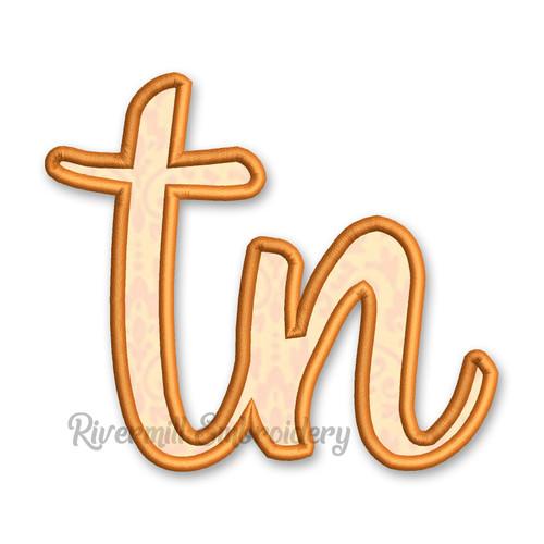 """Applique Tennessee """"tn"""" Machine Embroidery Design"""