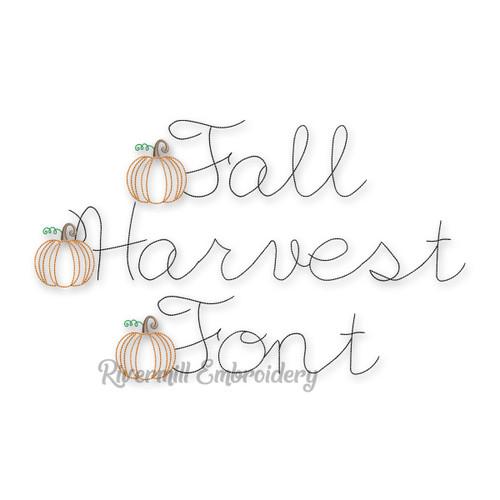 Fall Harvest Pumpkin Vintage Bean Stitch Machine Embroidery Alphabet