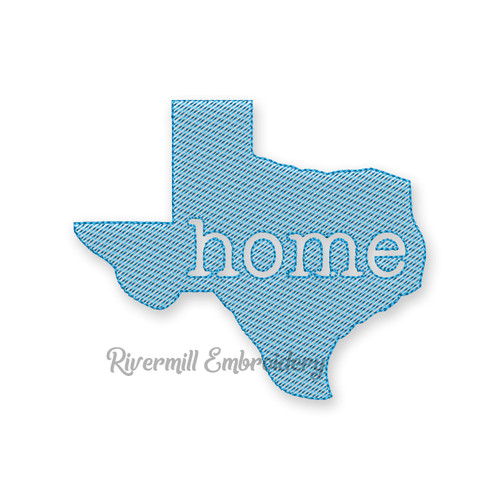 Small Vintage Sketch Style Texas Home Machine Embroidery Design