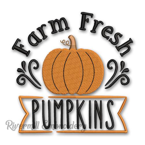 Farm Fresh Pumpkins Fall Machine Embroidery Design