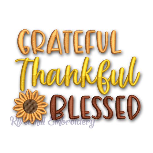 Grateful Thankful Blessed Machine Embroidery Design