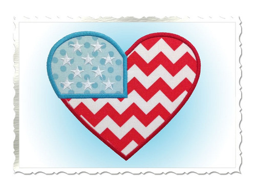 Applique Heart Shaped Flag Machine Embroidery Design