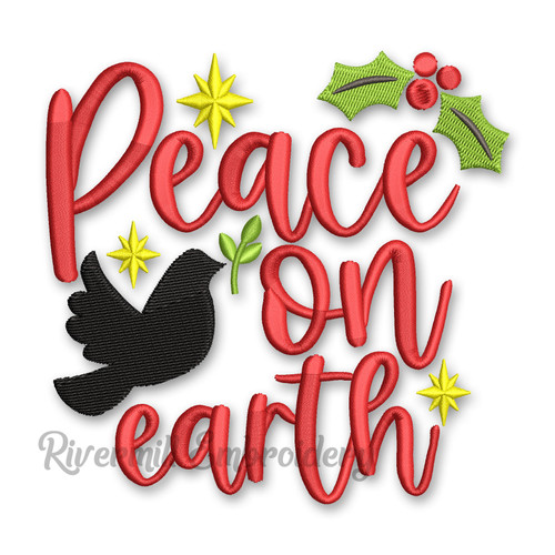 Peace On Earth Christmas Machine Embroidery Design