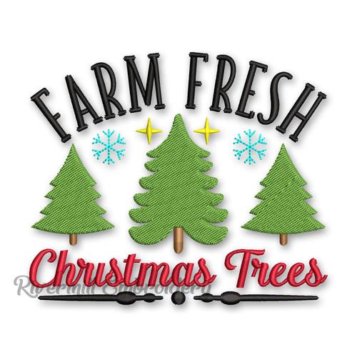 Farm Fresh Christmas Trees Machine Embroidery Design
