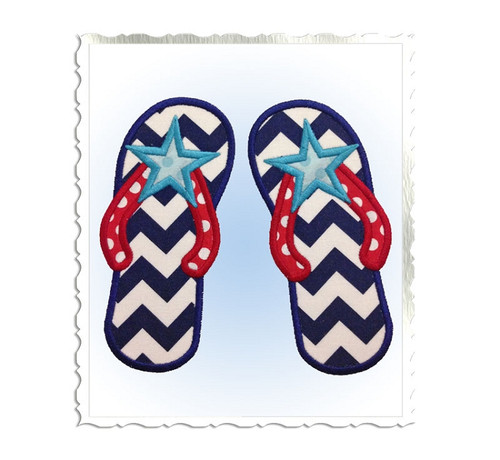 Applique Star Flip Flops Machine Embroidery Design