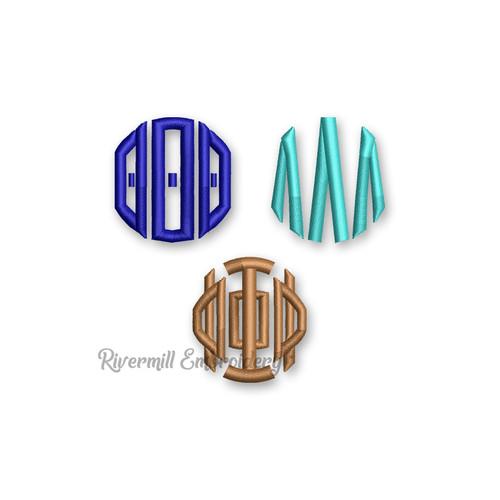 Greek Circle Monogram Machine Embroidery Font Alphabet