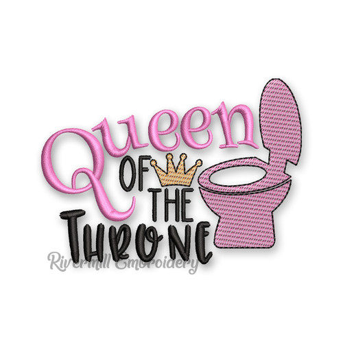 Queen Of The Throne Toilet Paper Machine Embroidery Design