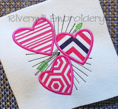 Applique Hearts with an Arrow Machine Embroidery Design