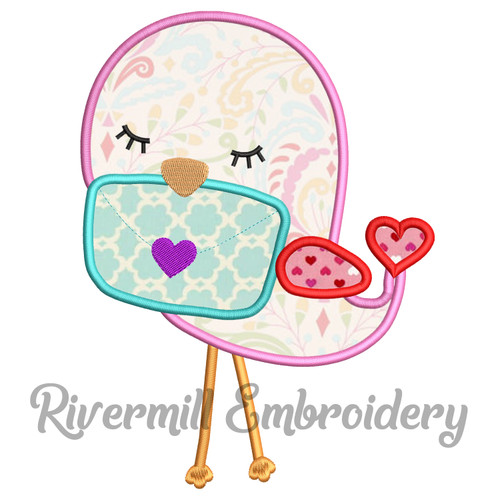 Love Bird w/ a Letter Machine Embroidery Design