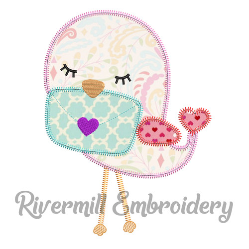 Love Bird w/ a Letter Zig Zag Applique Machine Embroidery Design