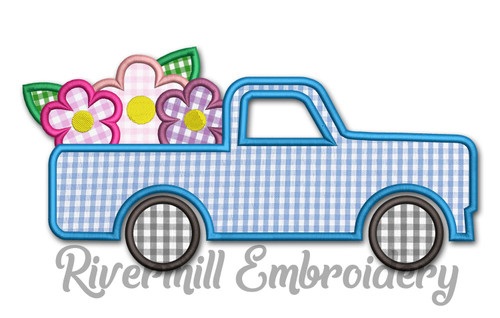 Applique Truck w/ Flowers Machine Embroidery Design