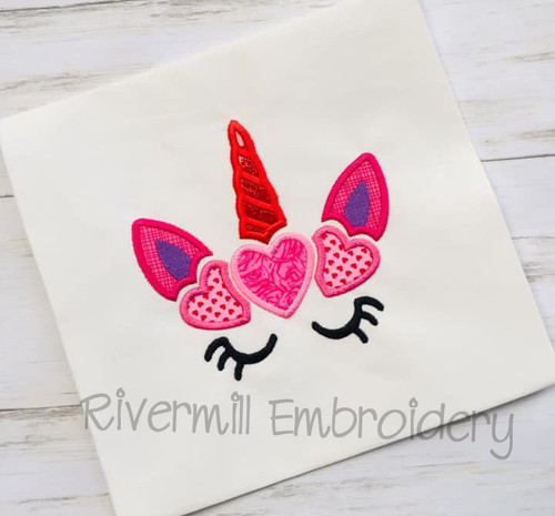 Unicorn With Hearts Applique Machine Embroidery Design