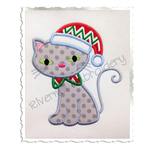 Cat With Santa Hat Applique Machine Embroidery Design