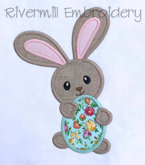 Applique Easter Bunny Holding an Egg Machine Embroidery Design