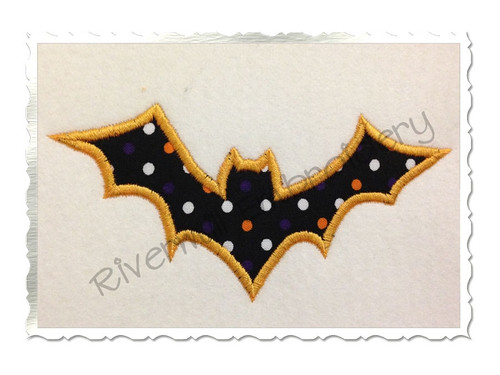 Applique Bat Silhouette Machine Embroidery Design