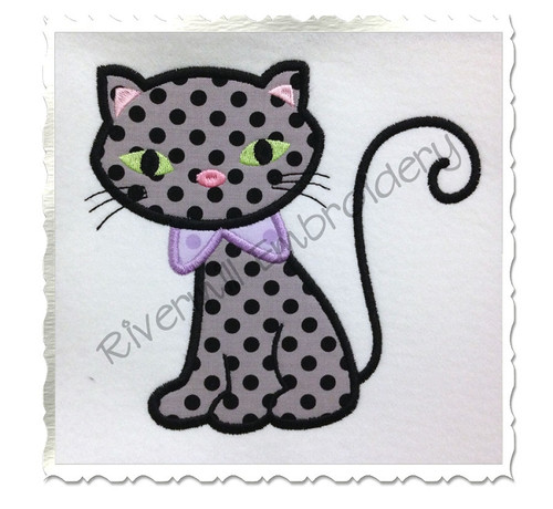 Applique Black Cat Machine Embroidery Design
