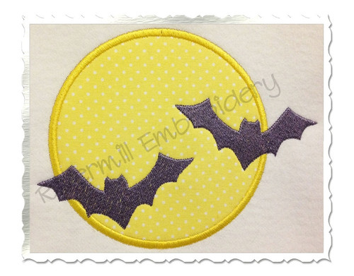 Applique Bats With A Full Moon Machine Embroidery Design