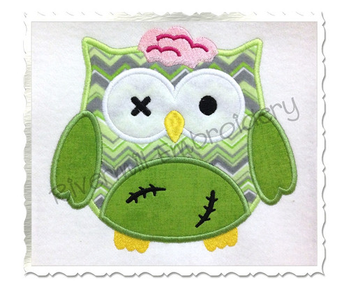 Zombie Owl Applique Machine Embroidery Design