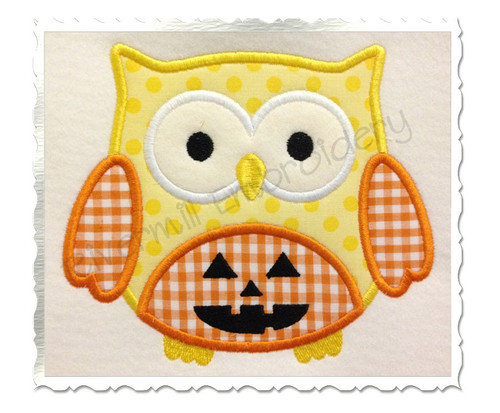 Applique Jack O Lantern Owl Machine Embroidery Design