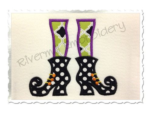 Applique Witch Feet Halloween Machine Embroidery Design