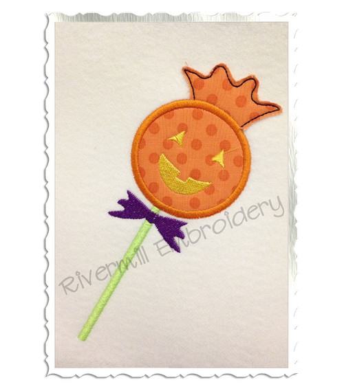 Applique Jack O Lantern Lollipop Machine Embroidery Design