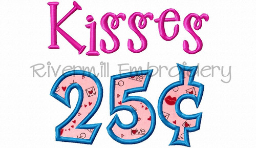 Applique Kisses 25 Cents Machine Embroidery Design