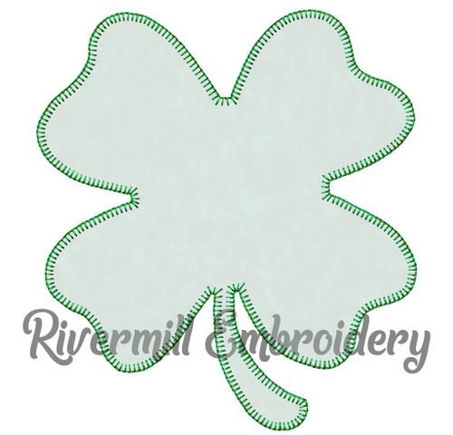 Four Leaf Clover Blanket Stitch Applique Machine Embroidery Design