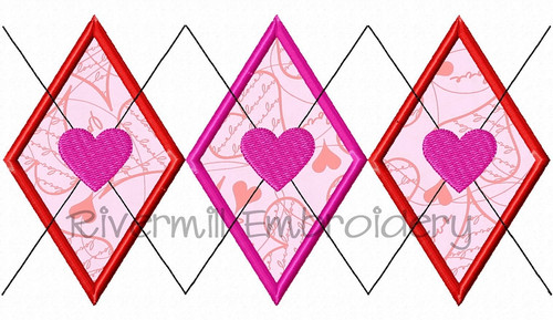 Applique Argyle With Hearts Pattern Machine Embroidery Design
