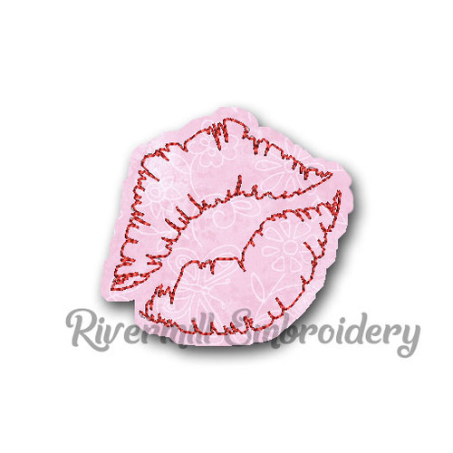Small Raggy Applique Lipstick Print Machine Embroidery Design