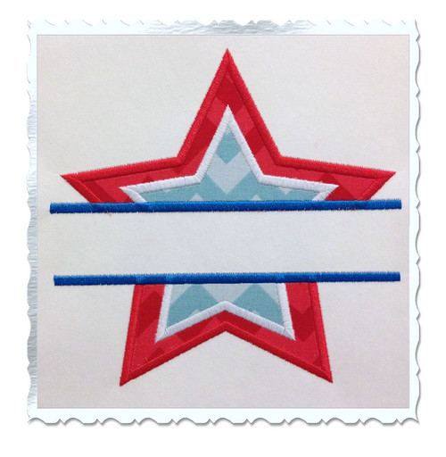 Applique Split Star Machine Embroidery Design