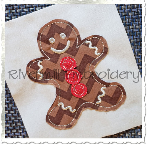 Raggy Applique Gingerbread Man Machine Embroidery Design