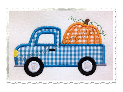 Pumpkin Truck Applique Machine Embroidery Design